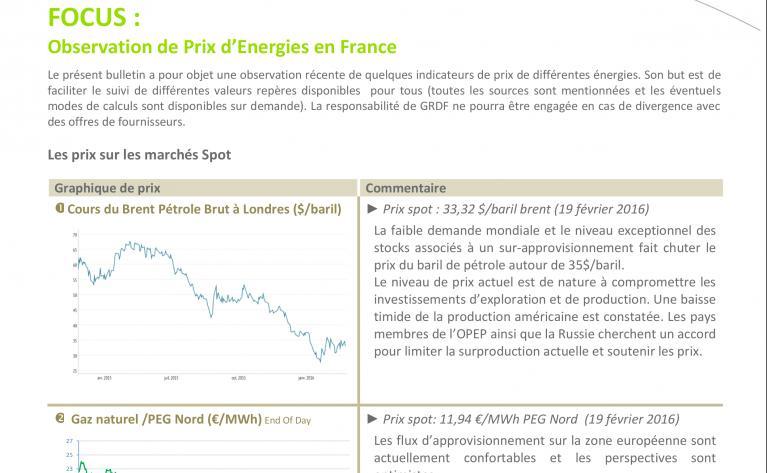 Bulletin de prix des énergies
