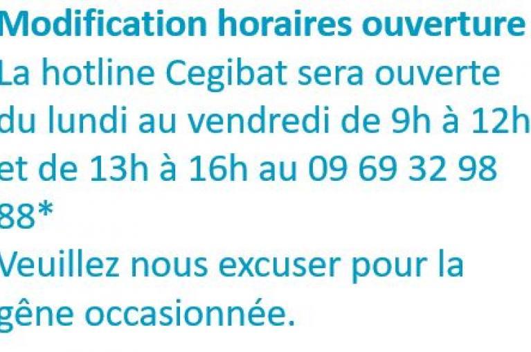 Modification horaires ouverture Hotline Cegibat covid 2