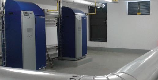 Chaufferie gaz composée de deux chaudières à condensation