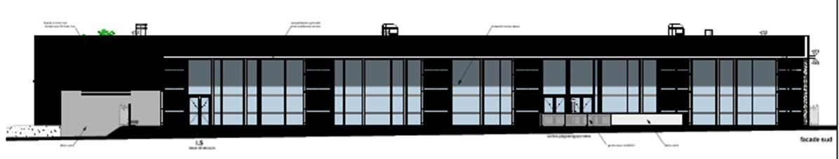Plan de la façade sud Piscine Vincennes 2