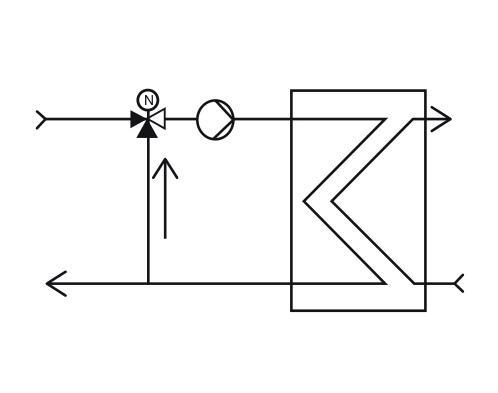 Schéma vanne 3 voies mélange