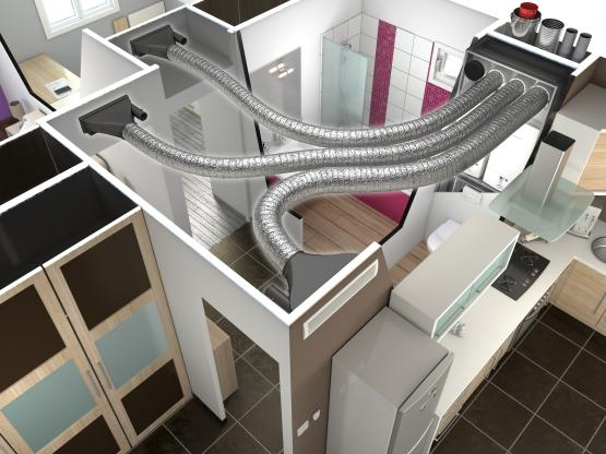 Schéma de fonctionnement d'une solution de chauffage par vecteur air gainable