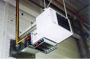 Aérotherme gaz modulant dans le magasin des pièces