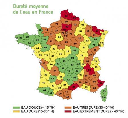 Dureté moyenne de l'eau en France