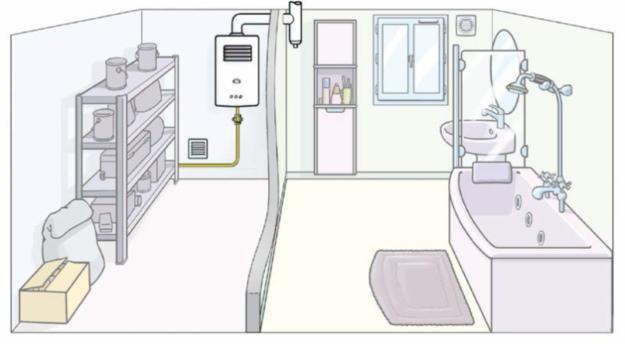 Etat modifié solution 2 : Chaudière à tirage naturel déportée dans le cellier - CEGIBAT