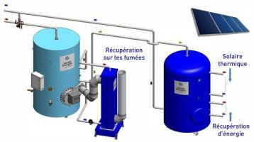 Couplage solaire thermique + hydro-accumulateur avec récupération d'énergie - (Source LACAZE Energies)