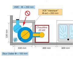 Exemple de raccordement de 6 chaudières de 25 kW à un 3CE classique