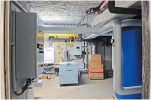 chaufferie gaz contenant la micro-chaudière à condensation