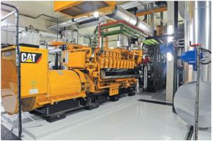 Les deux moteurs thermiques gaz naturel de l'unité de cogénération