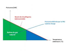 Synoptique d'une installation fonctionnant en relève (gaz naturel)